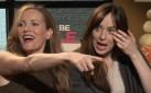 """#FIRSTLOOK: DAKOTA JOHNSON + LESLIE MANN FLIRT WITH REPORTER ON """"HOW TO BE SINGLE"""" JUNKET"""